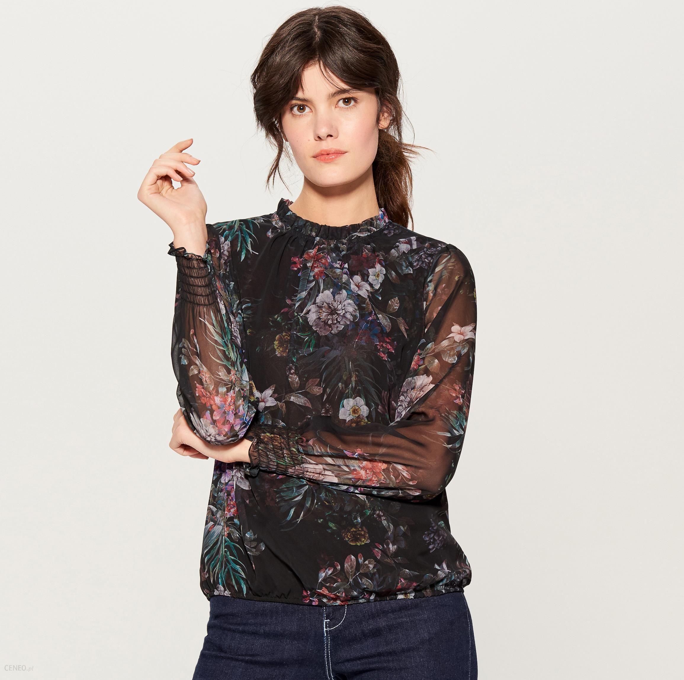 bdb3c7154ff9 Mohito - Szyfonowa bluzka w kwiaty - Czarny - Ceny i opinie - Ceneo.pl