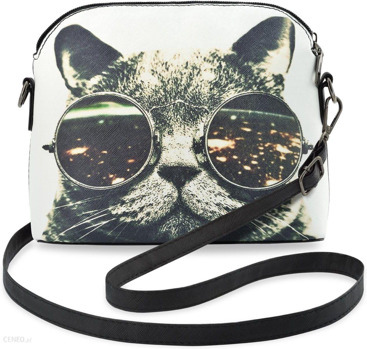 d6e206d55212e Młodzieżowa listonoszka damska z modnym nadrukiem – kot w lenonkach  okularach - zdjęcie 1