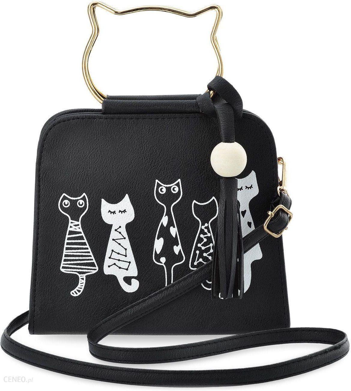 1683a481cb80a Młodzieżowa listonoszka torebka damska print kotki - czarny - Ceny i ...