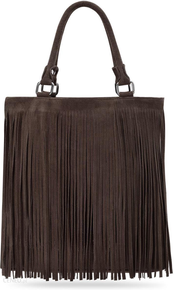 f4e4d0fb04831 Hippie torebka boho damska skora naturalna zamsz frędzle - ciemny brąz -  zdjęcie 1