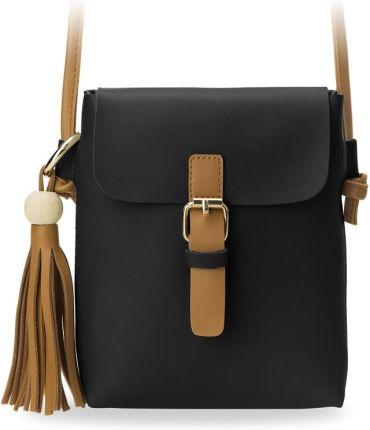 021bbbfd09d8b Mała stylowa listonoszka torebka damska z klapą ozdobne frędzle - czarny