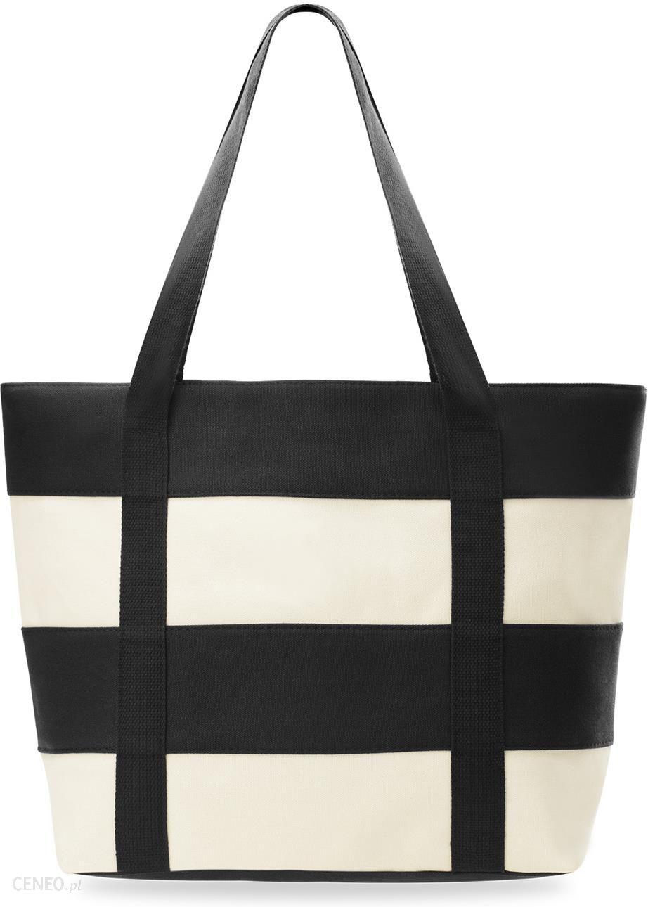 4a678978da8d7 Marynarska płócienna eko torba plażowa paski shopper bag + saszetka - czarny  - zdjęcie 1