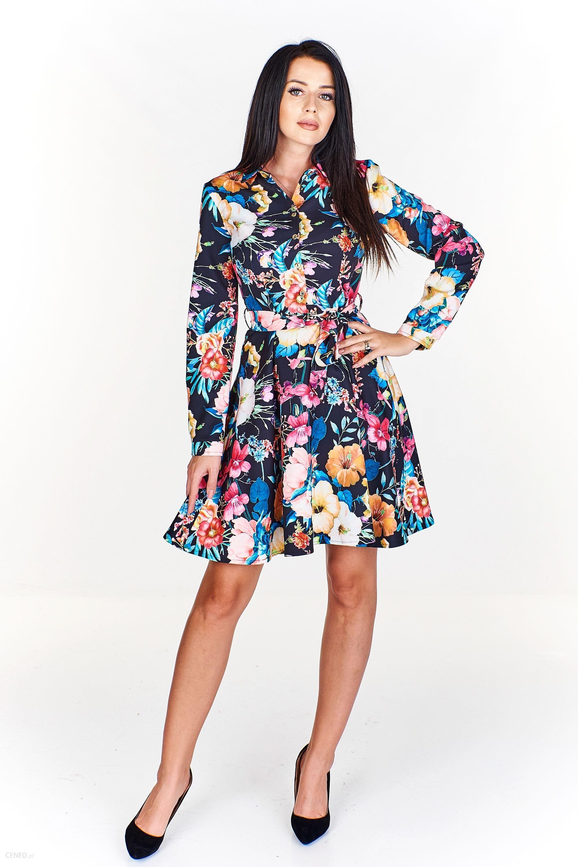 ded73c999e Koszulowa sukienka we wzory z rozkloszowanym