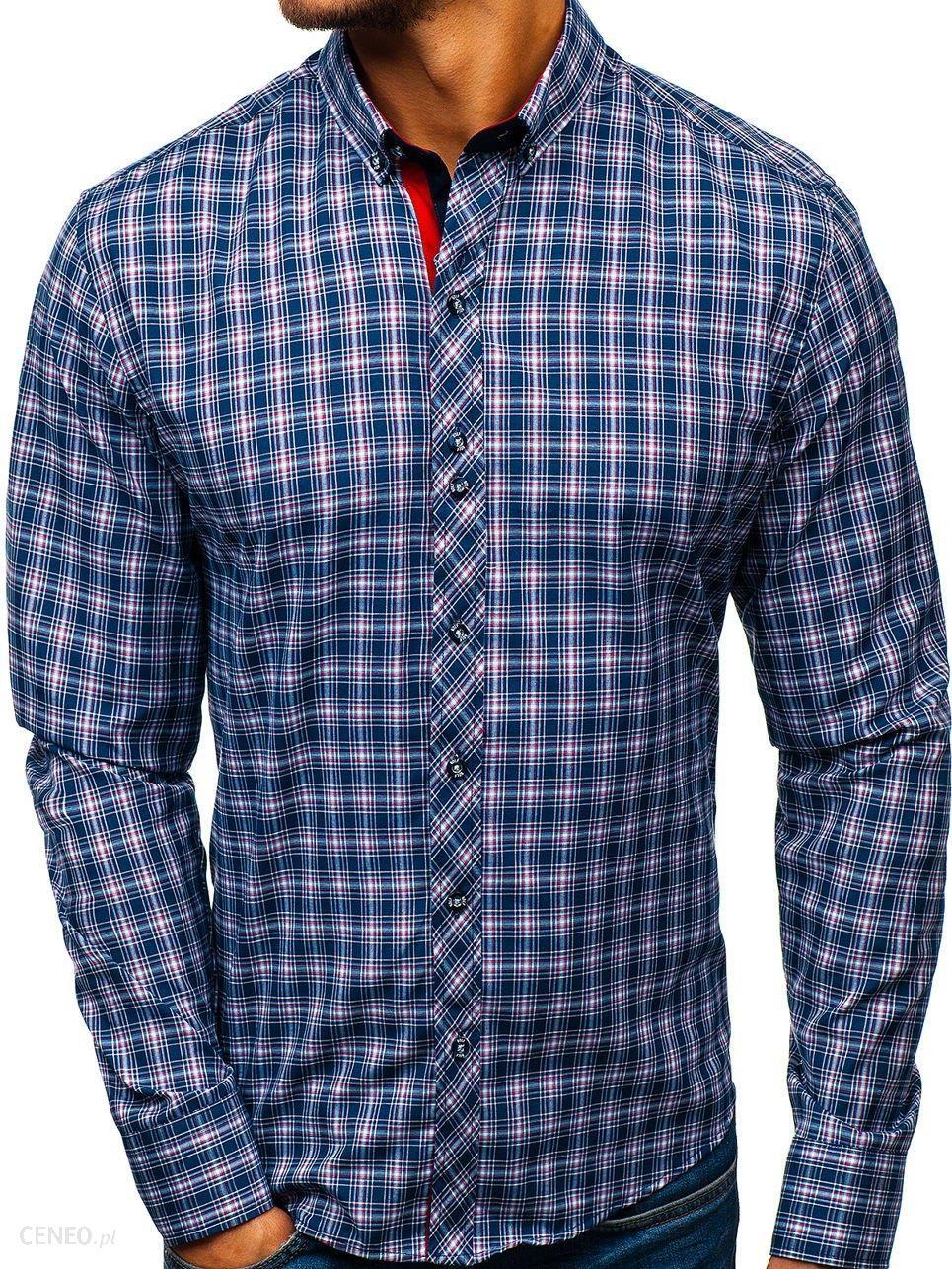 741b09276f1178 BOLF Koszula męska w kratę z długim rękawem granatowo-czerwona Bolf 8835 -  zdjęcie 1