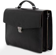 114d66222dfe8 ADAM BARON Aktówka - teczka skórzana na laptopa SLOW Business - black/camel