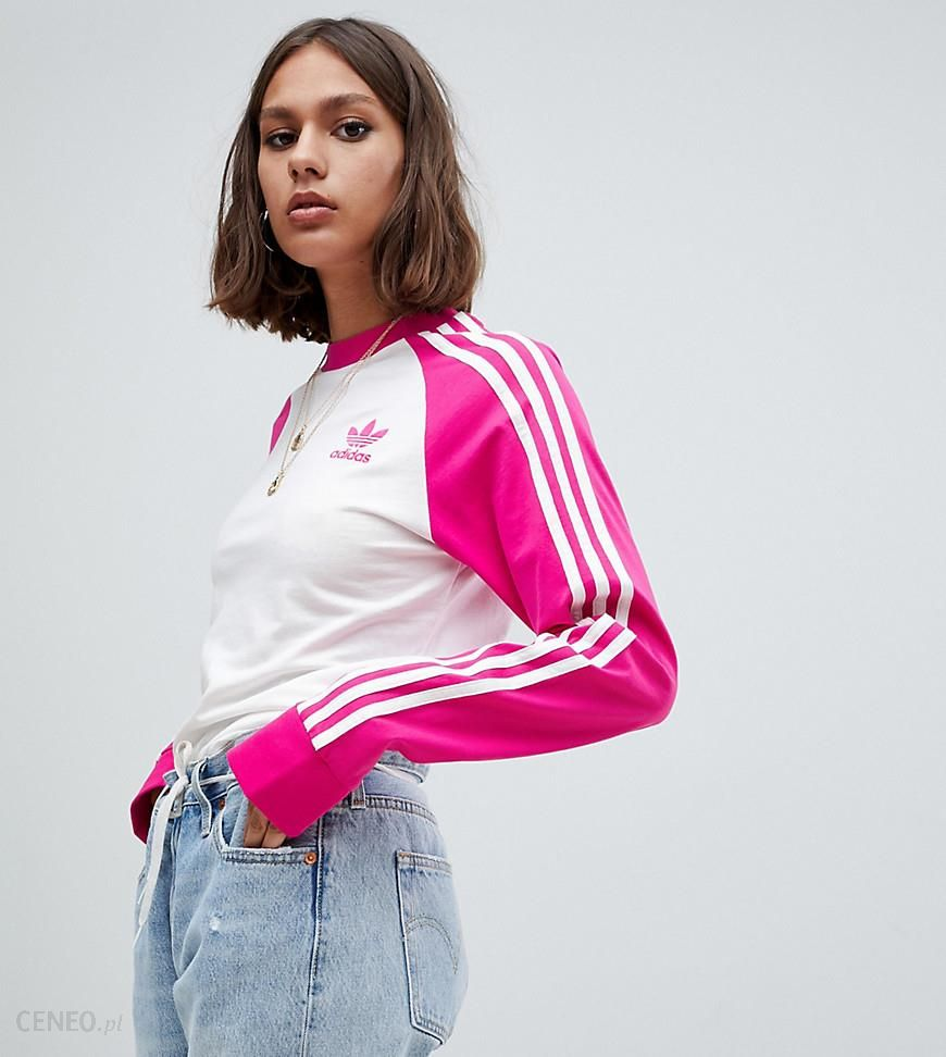 Adidas Originals Three Stripe Long Sleeve T Shirt In White And Pink Pink Ceneo.pl