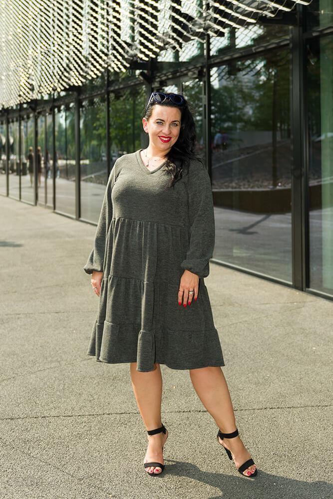 9c166cd19fb2 Sukienka Khaki TIFANY Swetrowa Plus Size - khaki - Ceny i opinie ...