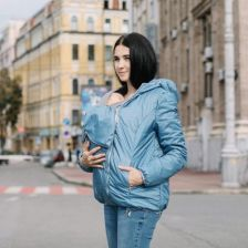 163668f695e11 Jesienna kurtka dla dwojga - ciążowa - Love&Carry 3w1 - niebieski