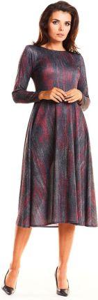d588b1aa89b3b0 Czerwona Elegancka Wzorzysta Sukienka Midi z Szerokim Dołem