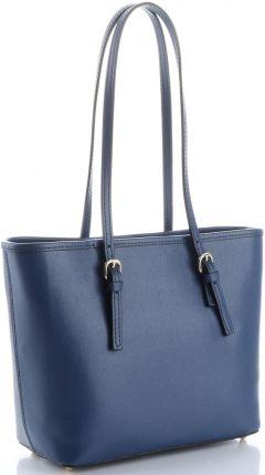 2e233eca471ac Klasyczne Torebki Skórzane na każdą okazję firmy Genuine Leather długie  rączki Granatowe (kolory) ...