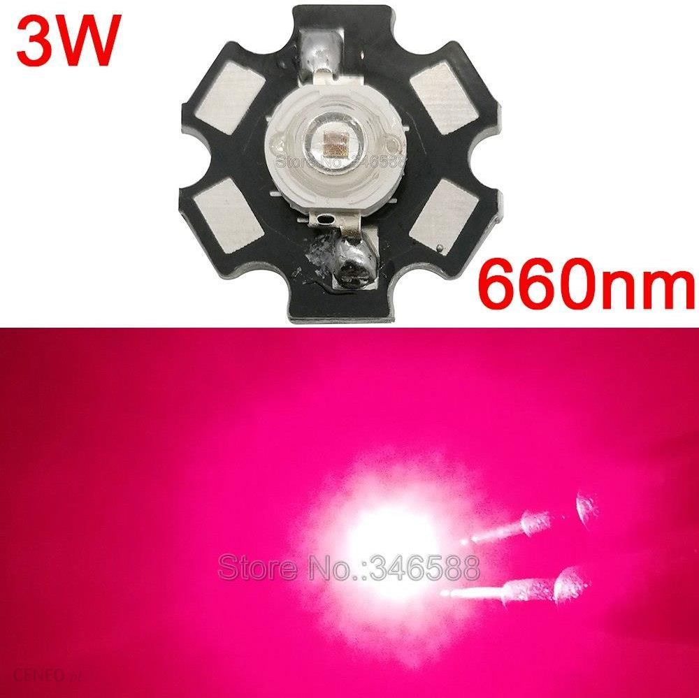AliExpress 10 sztuk 3 w Głęboki Czerwony 660NM Wysokiej Mocy Roślin Rosną Oświetlenie LED Nadajnik Dioda Epileds 42Mil Chip z 20mm Bazy Ceneo.pl