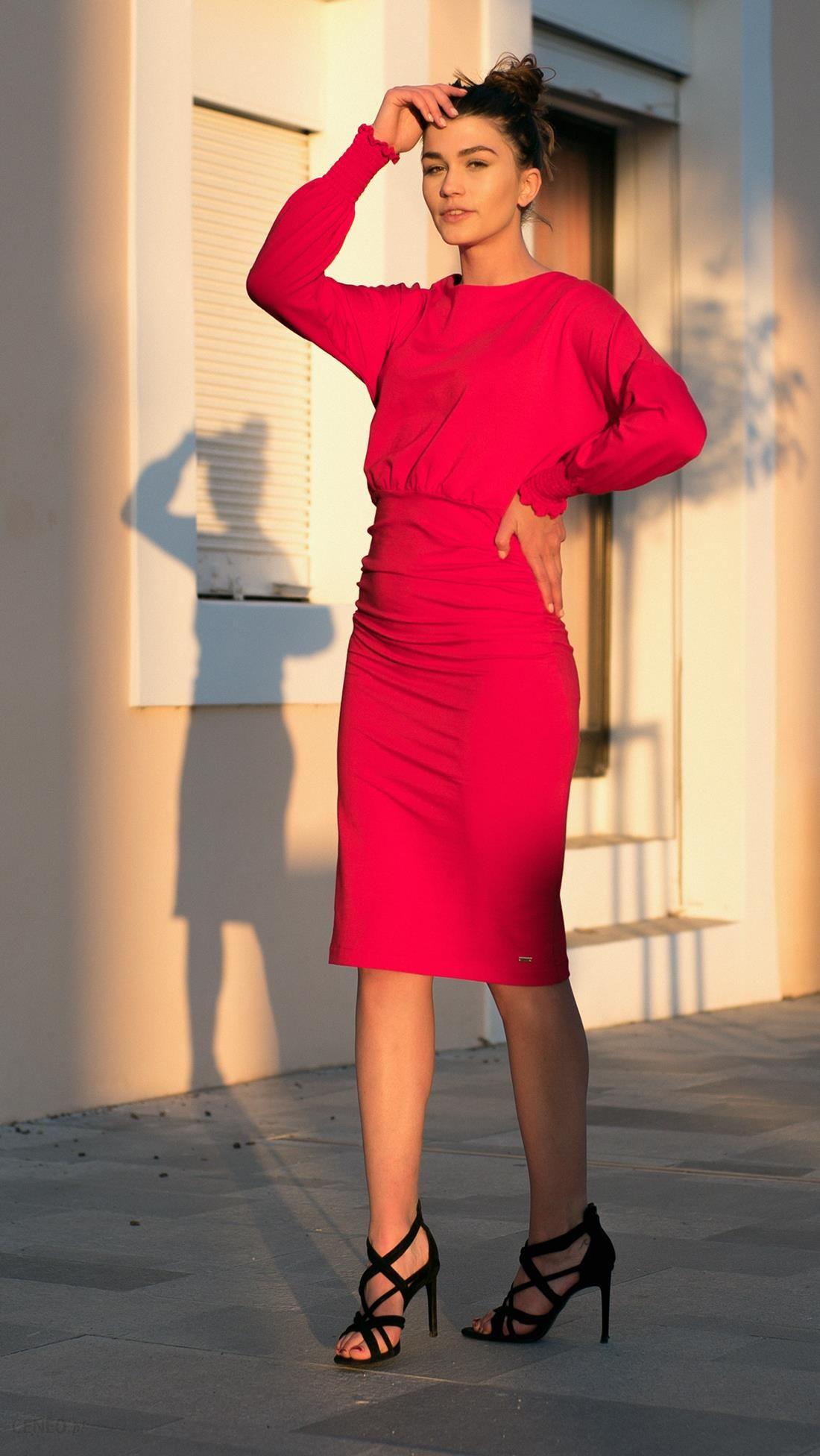 7b33348744 Bien Fashion Sukienka dzienna z dopasowanym dołem czerwony - Ceny i ...