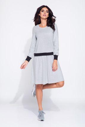a35369f111 Bien Fashion Bawełniana bluzosukienka z długim rękawem szary
