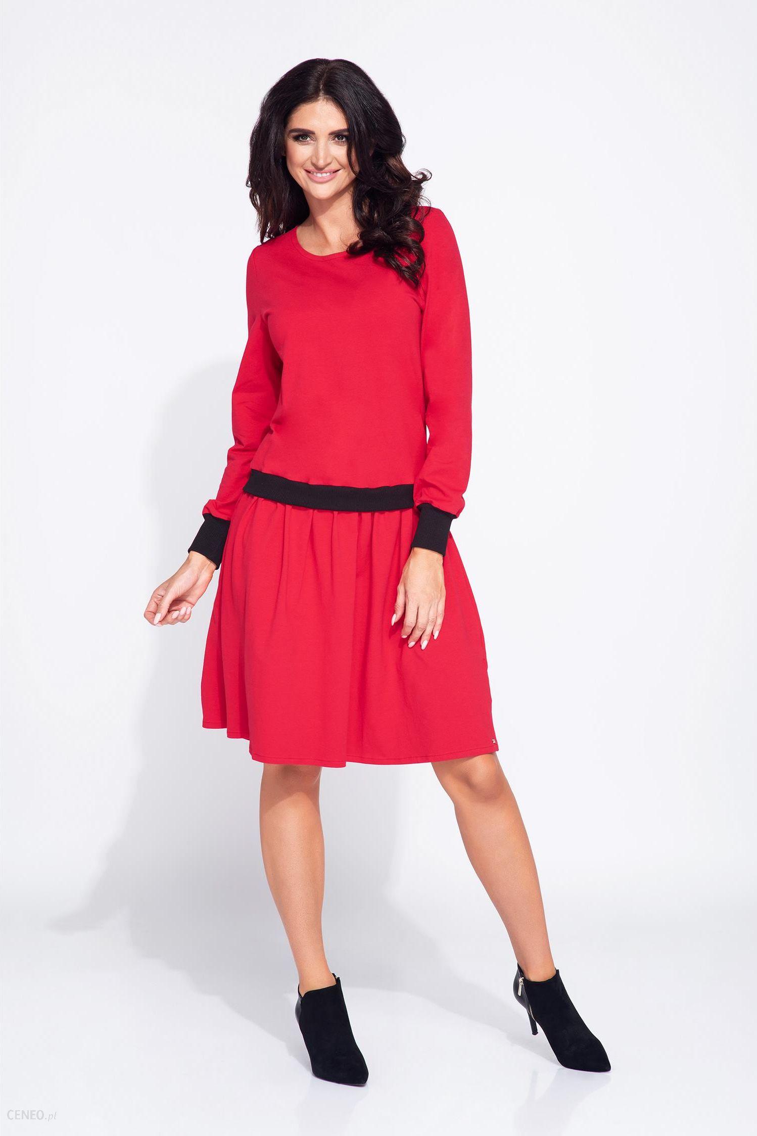 9586153803b9 Bien Fashion Bawełniana bluzosukienka z długim rękawem czerwony - zdjęcie 1