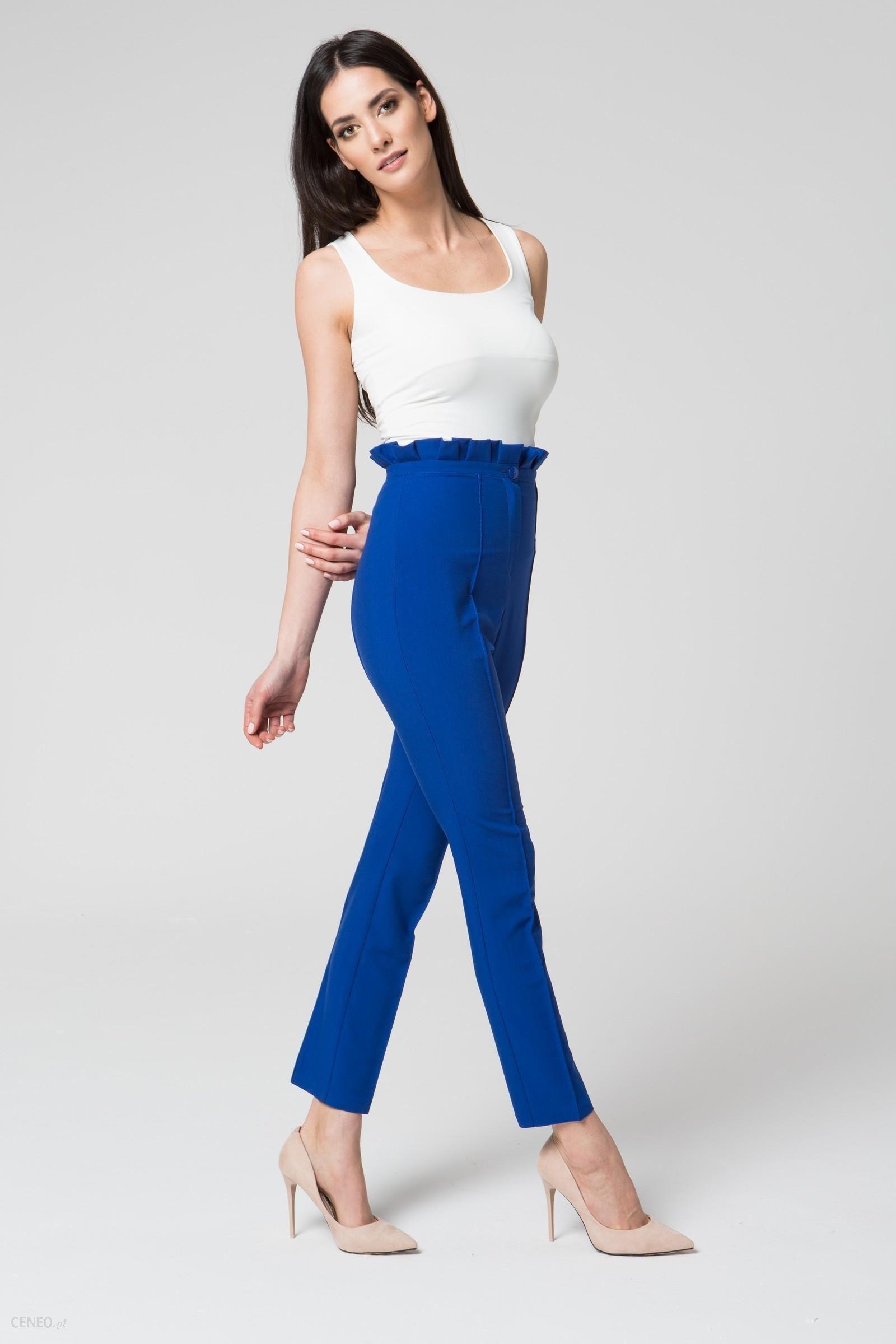 baaee8633a8e Mosali Mosali - Eleganckie Spodnie z Podwyższonym Stanem M032 niebieski -  zdjęcie 1