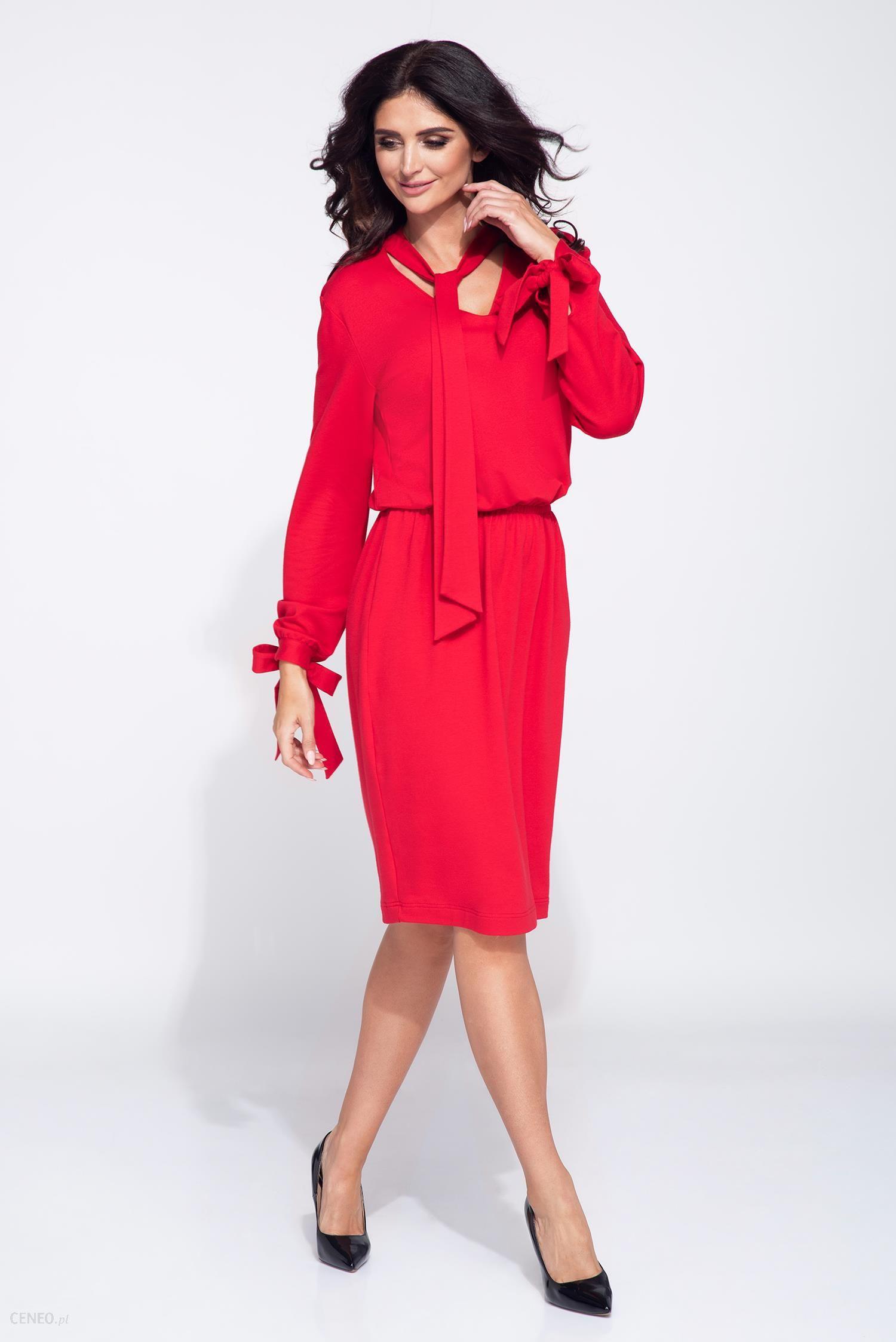 715d4a677170 Bien Fashion Sukienka z wiązanym rękawem czerwony - Ceny i opinie ...