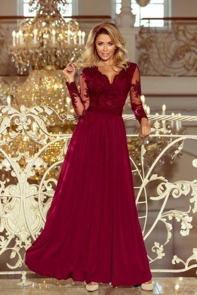 7a205bea82 213-2 ARATI długa suknia z haftowanym dekoltem i długim rękawkiem - BORDOWA  - zdjęcie