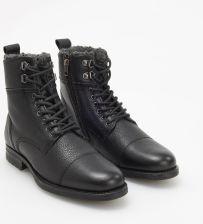 1df443e4b39be Reserved - Skórzane ocieplane buty za kostkę - Czarny ...