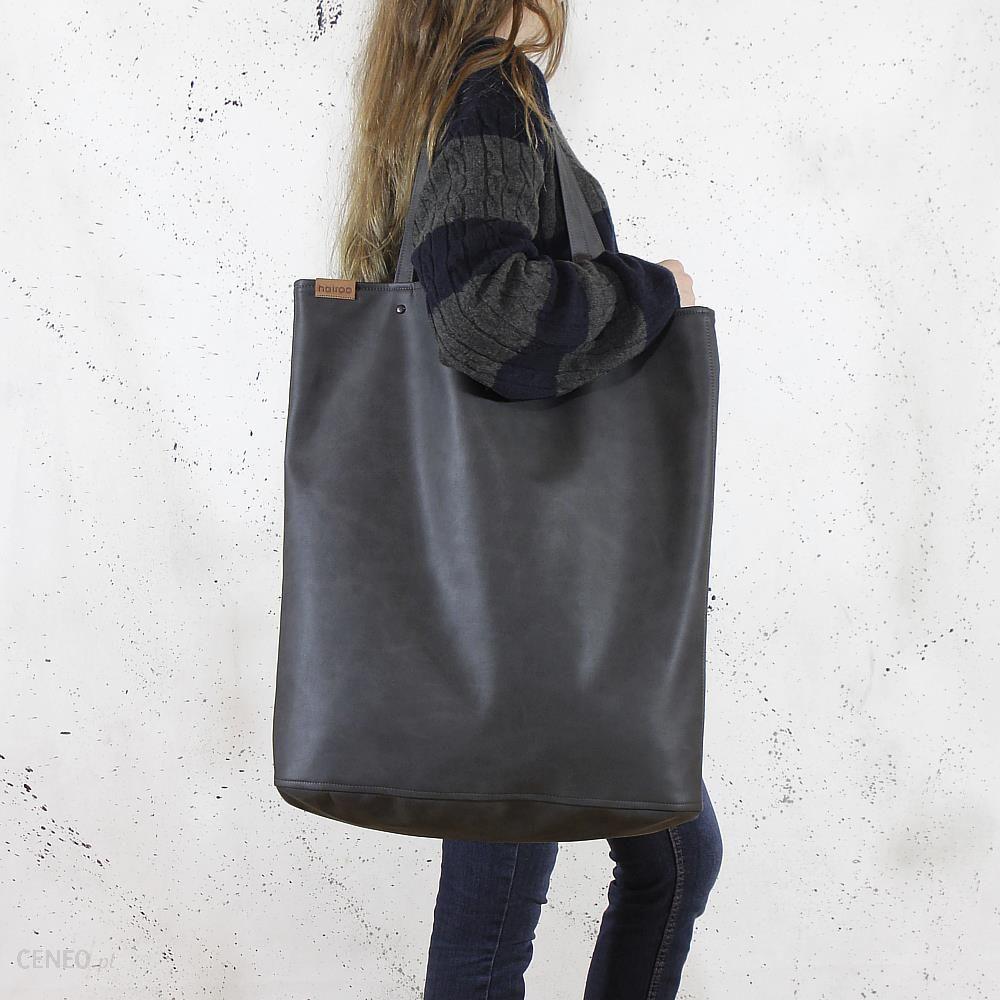 66789b9e hairoo Mega Shopper bag grafitowa torba oversize Vegan szary