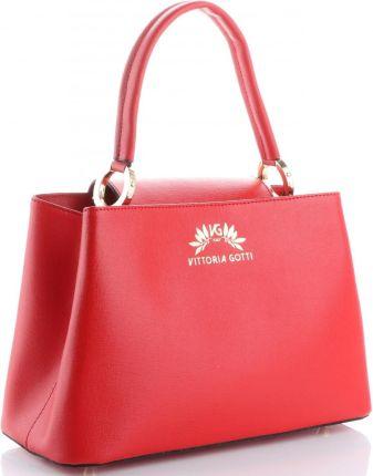 31503b4626245 Torebki Skórzane firmowy Elegancki Kuferek Vittoria Gotti Made in Italy  Czerwone (kolory)