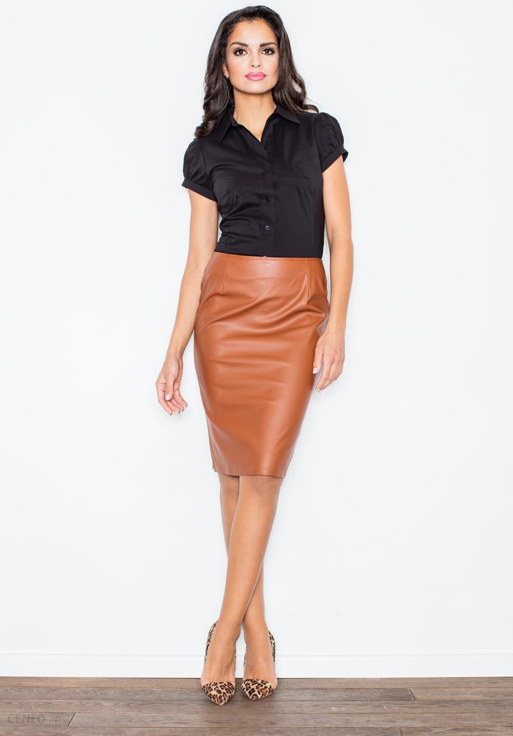 5e13e623c3fafe Klasyczna Elegancka Ołówkowa Spódnica w Kolorze Brązowym - Ceny i ...