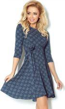 bd791ec235 numoco 49-10 Rozkloszowana sukienka z rękawkiem 3 4 - kwiatki jeans ciemny  granatowy - SALE % XL