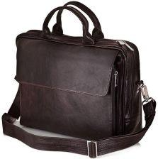 4844d3ade3589 Solier, torba męska SL30 Rothen na laptopa, skórzana, brązowa