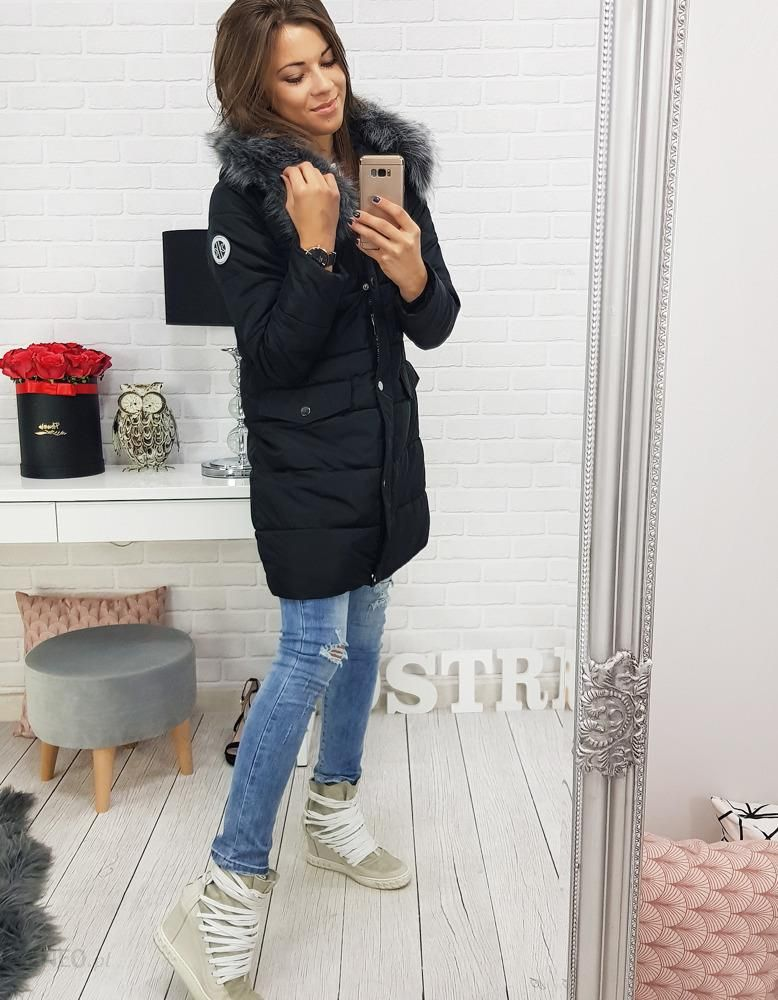 8efbb194168a5 Dstreet Kurtka damska LAPLAYA zimowa pikowana z kapturem czarna (ty0354) -  zdjęcie 1