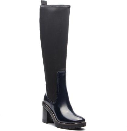 6e768d2fe9829 Kozaki TORY BURCH - Preston 95mm Lug Sole Boot 49621 Petrol Blue/Perfect  Black 453 eobuwie