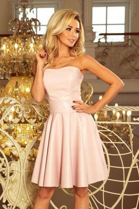 b431a8ba36cbe9 Ekskluzywna sukienka z koronkowym dekoltem - pudrowy róż 200-5 ...