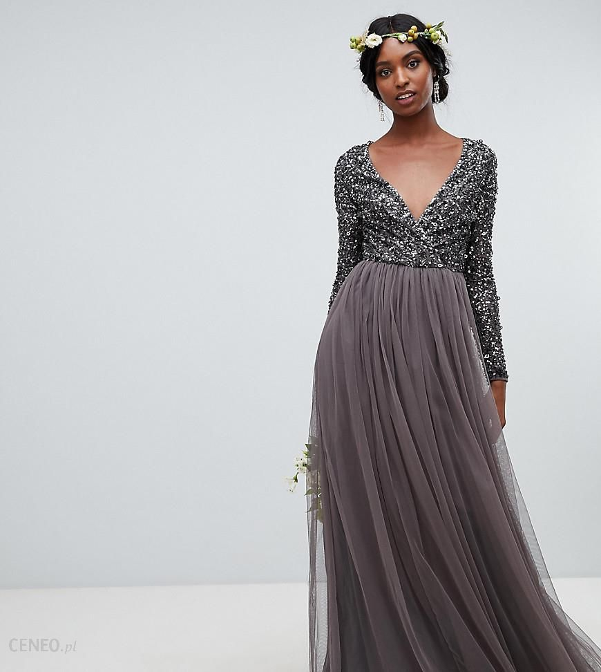 b257fedac20 Maya Plus Long Sleeve Maxi Dress With Delicate Sequin And Tulle Skirt