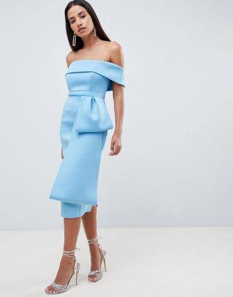 a6bea308be ASOS DESIGN Scuba extreme bow front midi dress - Blue