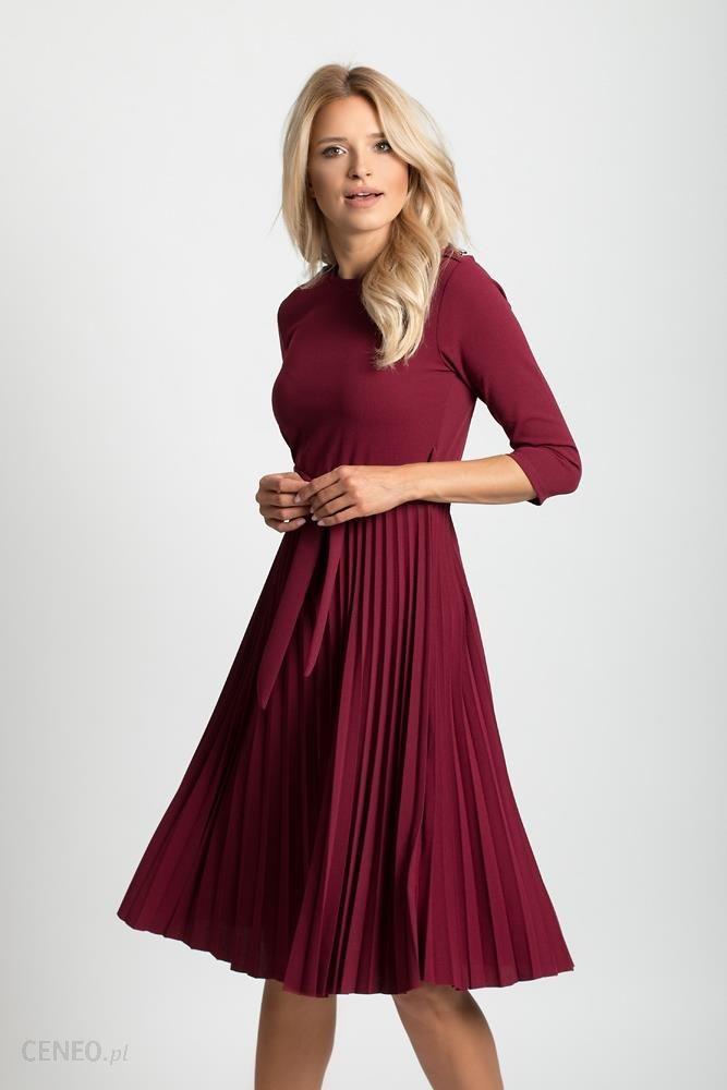 b49b3f072618aa Plisowana sukienka koktajlowa pasek F69 Bordowa - Ceny i opinie ...