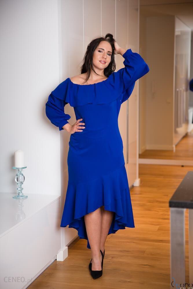 Chabrowa Sukienka LUSJA Hiszpanka Plus Size niebieski Ceny i opinie Ceneo.pl