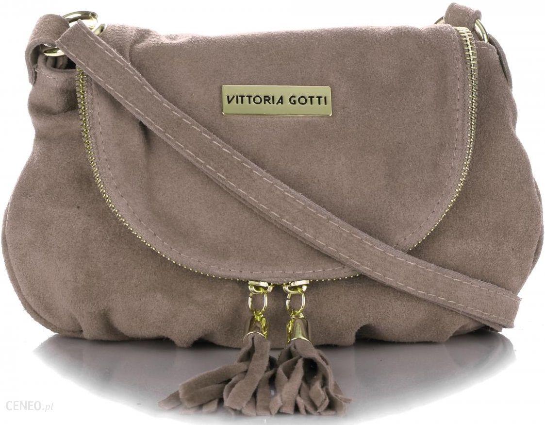 39b5cdd84043f Małe Torebki Skórzane Listonoszki firmy Vittoria Gotti wykonane w całości z Zamszu  Naturalnego Ziemista (kolory