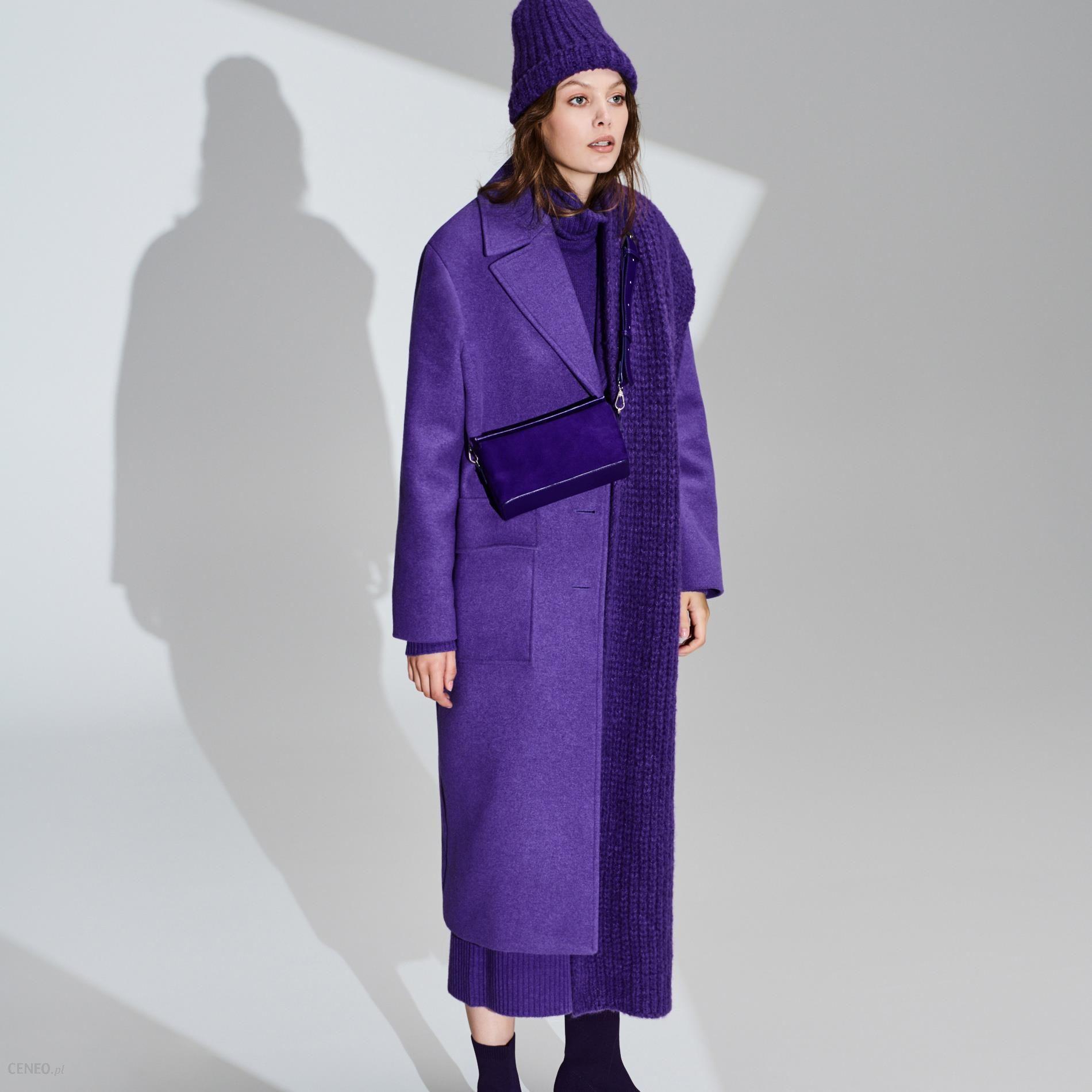 Płaszcz z wełną Fioletowy