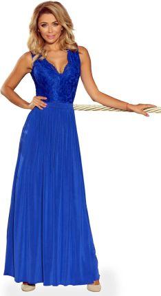 a7137f3d24 Numoco Chabrowa Wieczorowa Sukienka Maxi z Koronkową Górą bez Rękawów