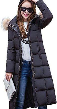 Amazon ELEAR® damska długa lekka kurtka puchowa kurtka zimowa płaszcz zimowa kurtka puchowa z kapturem poniżej kolan zima S XXL puchowa czarny