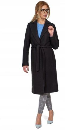 09453be8b76cb Bella przejściowy płaszcz z paskiem czarny 36 / S Allegro
