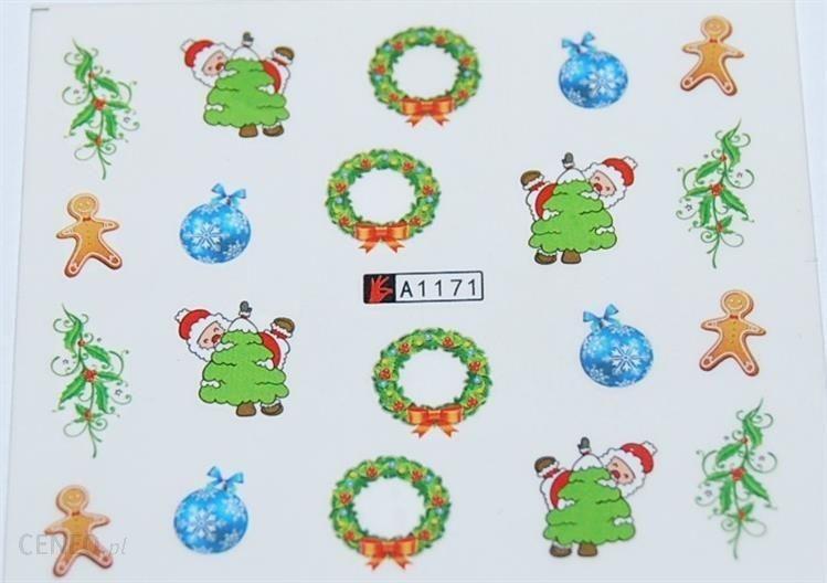 Naklejki Na Paznokcie świąteczny Gwiazdor Choinka Merry Christmas
