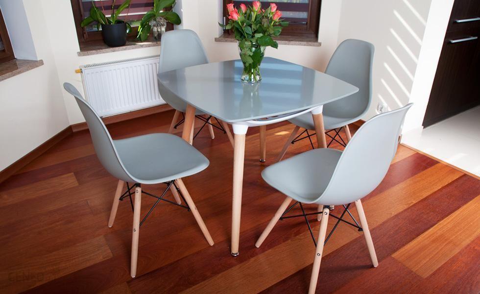Lazur Stół 4 Krzesła Kolekcja Mediolan Kwadratowy Szary