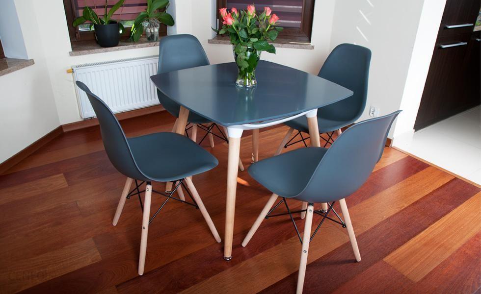 Lazur Stół 4 Krzesła Kolekcja Mediolan Kwadratowy Grafitowy