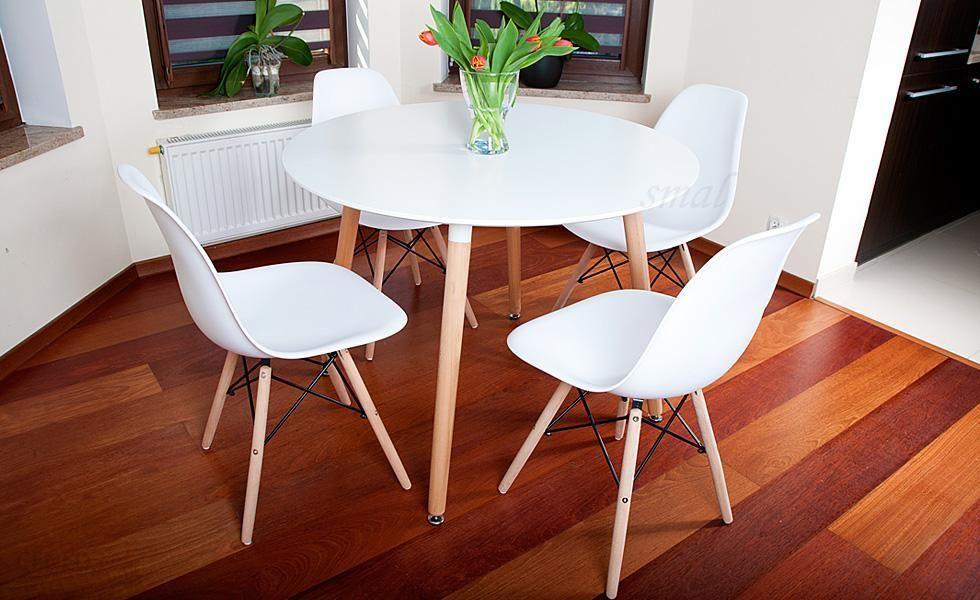 Masywnie Lazur Stół Okrągły Fi 100 Biały + 4 Krzesła - Opinie i atrakcyjne CR53