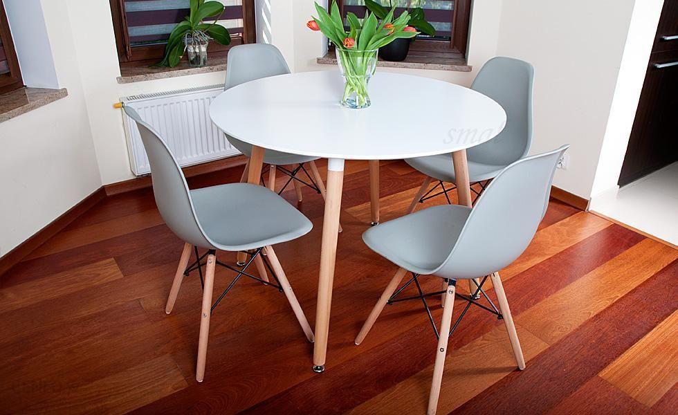Lazur Stół Okrągły Fi 100 Biały 4 Krzesła Szare