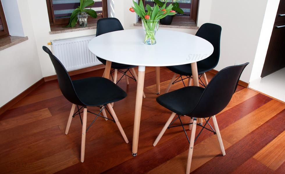 Lazur Stół Okrągły Fi 100 Biały 4 Krzesła Czarne