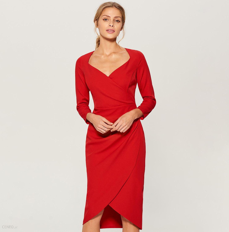 24590f3ffa Mohito - Sukienka midi z kopertową zakładką - Czerwony - Ceny i ...