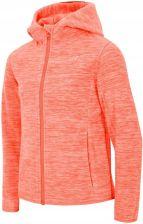 8b7aec68da1e 4F Bluza Polarowa z Kapturem Dziewczęca. Koralowy. Rozmiary  128-158