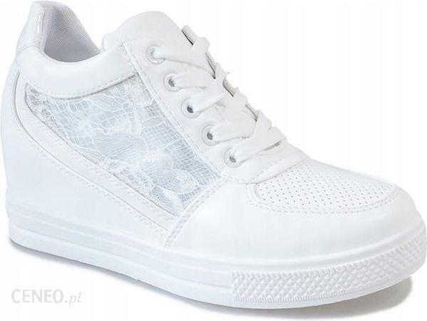 4cabbf00d02b Białe sneakersy na koturnie z koronką MY562 38 - Ceny i opinie ...