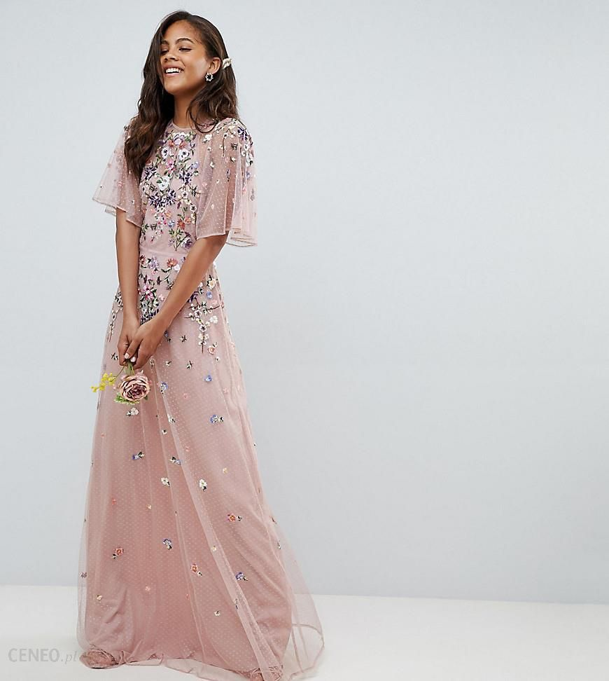 722b7031c50 ASOS DESIGN Tall floral embroidered dobby mesh flutter sleeve maxi dress -  Pink - zdjęcie 1