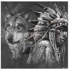 Decormint Plakat Samoprzylepny Wilk I Wódz Indian Amerykańskich Tatuaż Projekt Nad Szarym Backgrou 30x30cm Opinie I Atrakcyjne Ceny Na Ceneopl